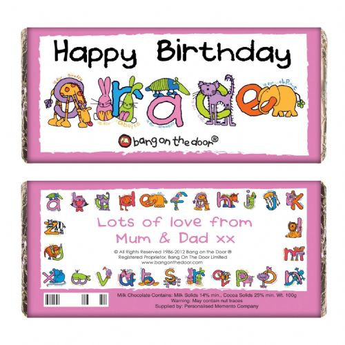 Personalised Bang On The Door Animal Alphabet Girls Chocolate Bar